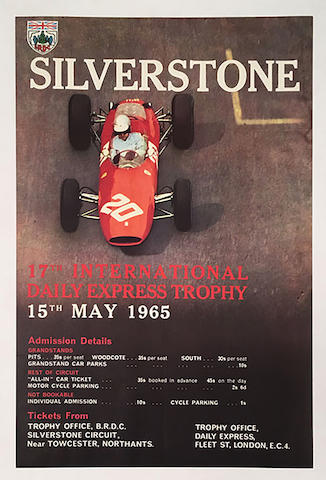 International Daily Express Trophy Silverstone 1965 original poster, 30in x 19.75in