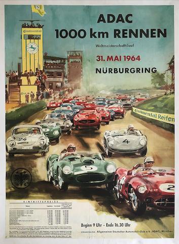 1000 Km of Nurburgring 1964 original event poster,