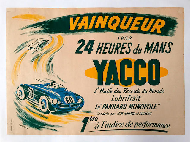 Yacco Oil original advertising poster by P. Boyer, 1952, 31.5in x 23.25in
