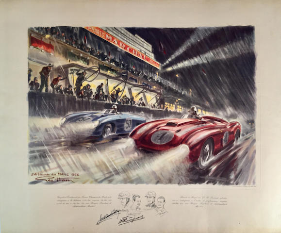 24 heures du Mans 1954 original lithograph by Geo Ham, autographed, 26in x 21.75in