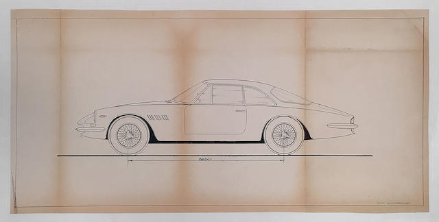 Ferrari 500 Superfast Scaglietti Factory original blueprint, 28in x 13.75in