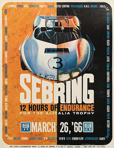 12 Hours of Sebring 1966 original event poster by John Peckham,