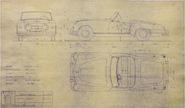 Nash Healey Spyder original Pinin Farina blueprint, 1954,
