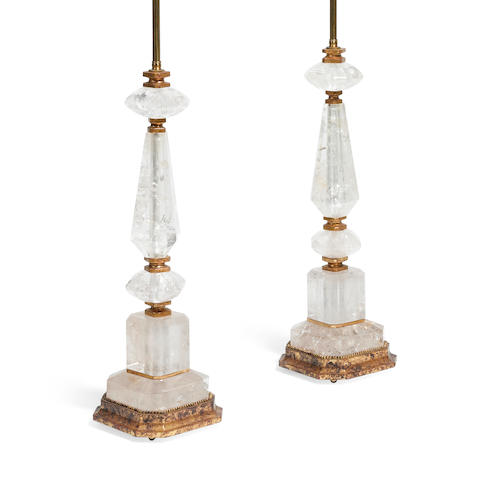 A pair of Alberto Pinto  gilt bronze and giltwood mounted rock crystal lamps