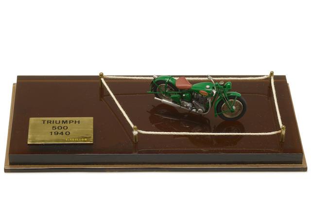 A unique scratch-built 1/43rd scale model of a Triumph 500, by Thierry Teillon,