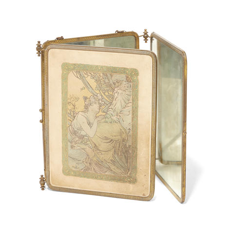An embossed and printed leatherette gilt metal mounted three fold table mirror After Alphonse Mucha (1860-1939)Early 20th century