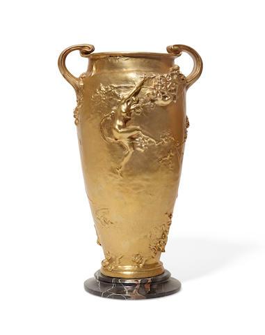 A French Art Nouveau gilt bronze two handled vase Joseph Cheret (1839-1934)