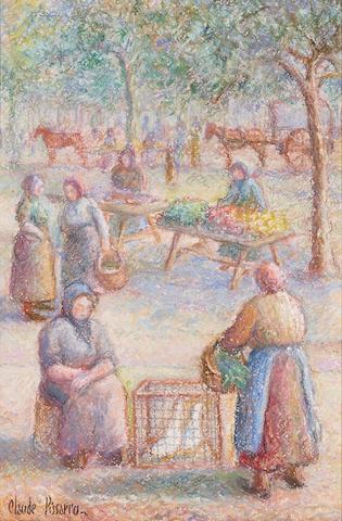 Hugues Claude Pissarro (French, born 1935) Baptiste Charbonnel et sa grand mère Céline a la Taillerie sous la neige 14 1/2 x 10in (36.8 x 25.4cm)