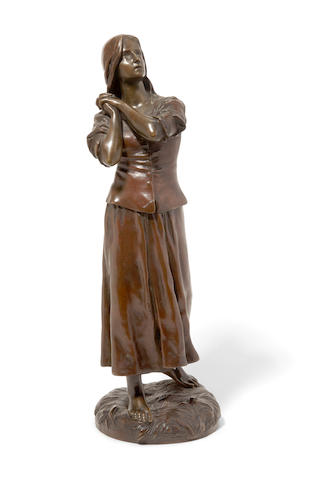 A French patinated bronze figure of Joan of ArcFrançois-Raoul Larche (French, 1860-1912) Circa 1900