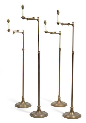 Four Alberto Pinto  brass telescoping floor lamps