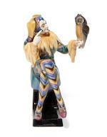 A Goldscheider glazed earthenware figure of the jester Till Eulenspiegel