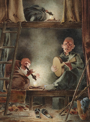 Robert Frederick Blum (1857-1903) Opium Den, San Francisco, Chinatown 11 1/4 x 8 1/4in