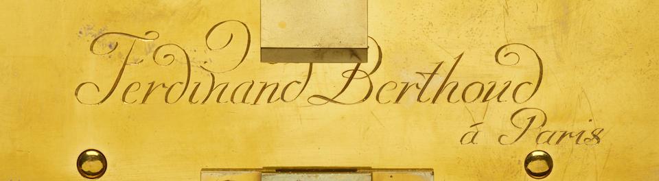 A fine and rare month duration pillar timepiece with visible coup perdu escapement Ferdinand Berthoud à Paris, circa 1800