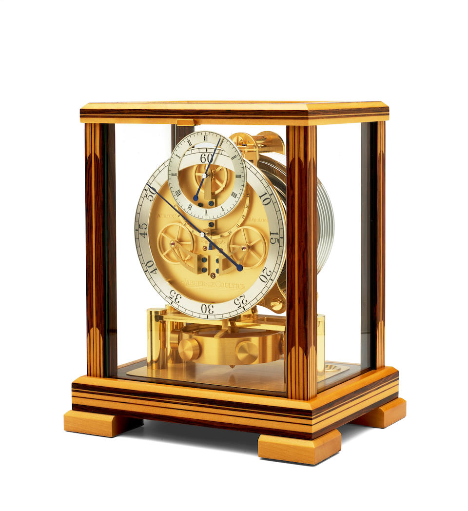 Jaeger Le Coultre. A fine and unusual inlaid wood limited edition Atmos clock                                       Atmos Regulateur, No. 14 / 50, circa 2000
