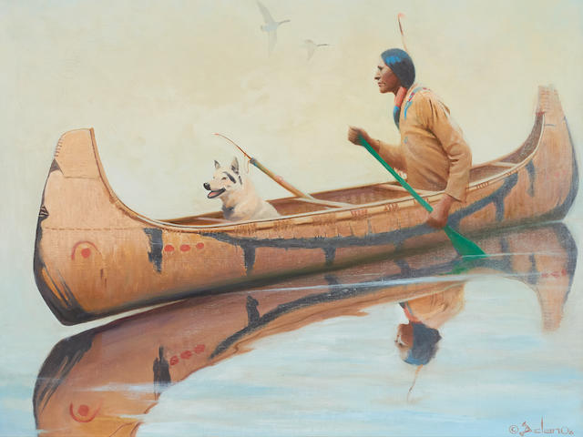 Gerard Curtis Delano (1890-1972) Menominee Hunter 30 x 36in