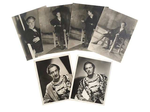 A group of John Barrymore oversized photos from Hamlet and Romeo and Juliet