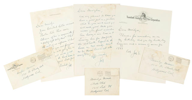 A Marilyn Monroe group of letters from Joseph Schenck