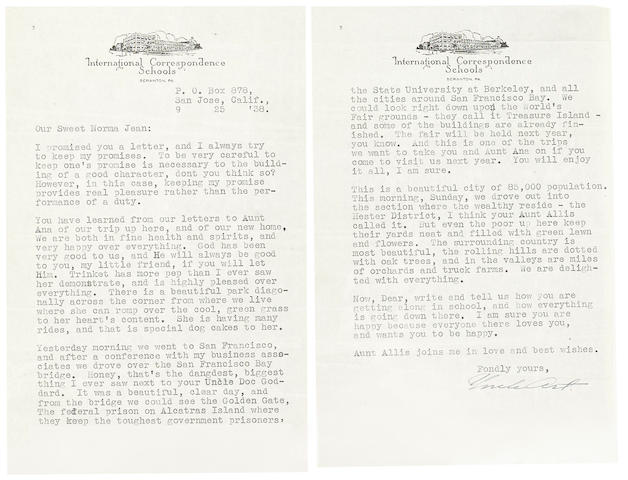 A Marilyn Monroe group of letters from Uncle Art and Aunt Allis