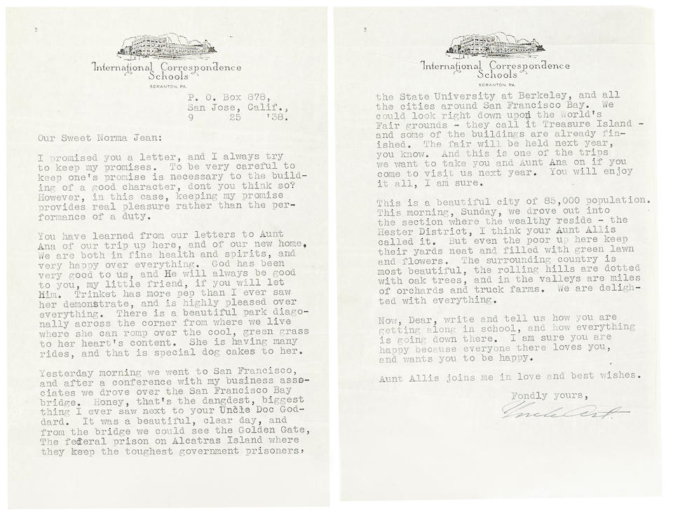 Bonhams : A Marilyn Monroe group of letters from Uncle Art and Aunt