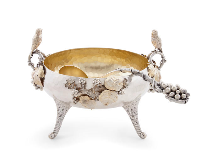 An American gilt Sterling silver figrural punch bowl and laddle by George C. Shreve & Co., San Francisco, CA late 19th Century