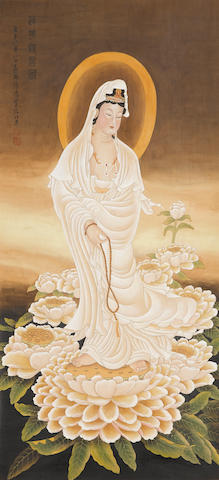 Xu Cao (1898-1961)  Guanyin on White Lotus, 1949