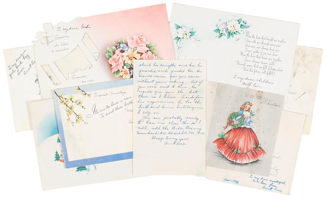 A Marilyn Monroe group of holiday cards and partial letter from Ana Lower