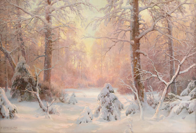 Ivan Avgustovitch Veltz (Russian, 1866-1926) Sunset in a winter forest