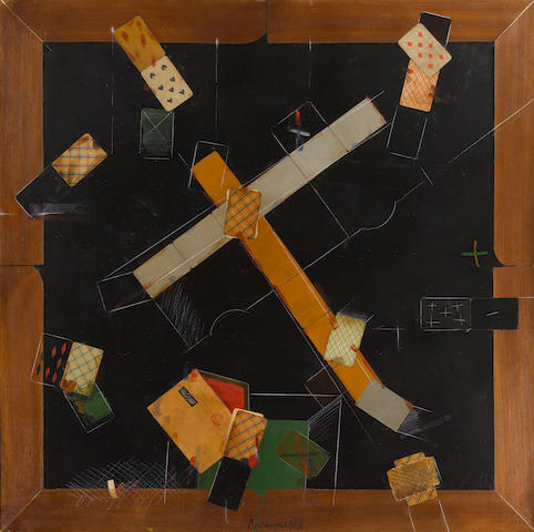 Vladimir Nikolaevich Nemukhin (Russian, 1925-2016) 'Black card table Number 3'