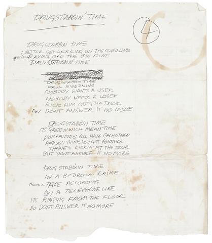 Bonhams A Set Of Joe Strummer S Handwritten Lyrics For The Clash S Drug Stabbing Time Listen to the album here. drug stabbing time