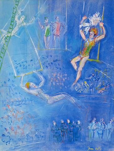 JEAN DUFY (1888-1964) Les trapézistes 24 x 18 1/4 in (61 x 46.4 cm)