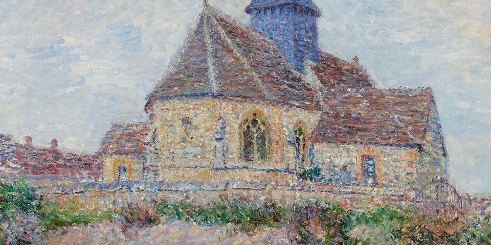 GUSTAVE LOISEAU (1865-1935) L'église de Porte-Joie dans L'Eure 25 5/8 x 32 in (65.5 x 81.2 cm)  (Painted in 1901)