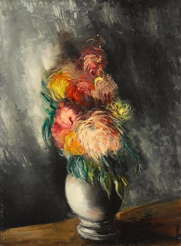 Maurice de Vlaminck (French, 1876-1958) Bouquet de dahlias 287/8x213/8in (73.34x55.56cm)