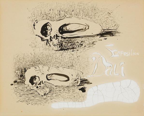 Salvador Dalí (1904-1989) Etude pour le carton d'invitation à l'exposition chez Jacques Bonjean (Executed circa 1934)