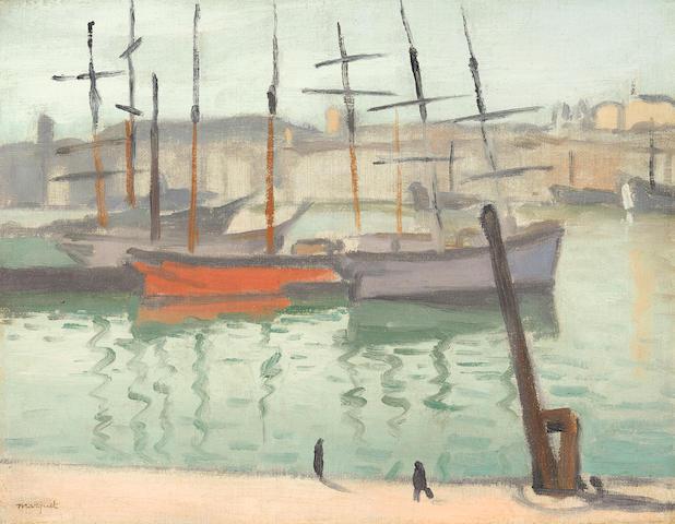 ALBERT MARQUET (1875-1947) Le port de Marseille 10 5/8 x 13 3/4 in (27 x 35 cm) (Painted in 1916)