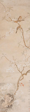 Attributed to Song Guangbao (19th century) Sparrows on Flowering Branch, 1874