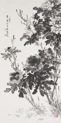 Zhang Shaoshi (1913-1991) Ink Peonies, 1971