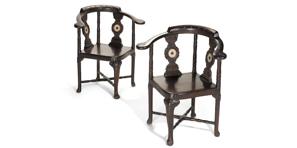 A rare pair of jade-mounted zitan corner chairs 19th Century
