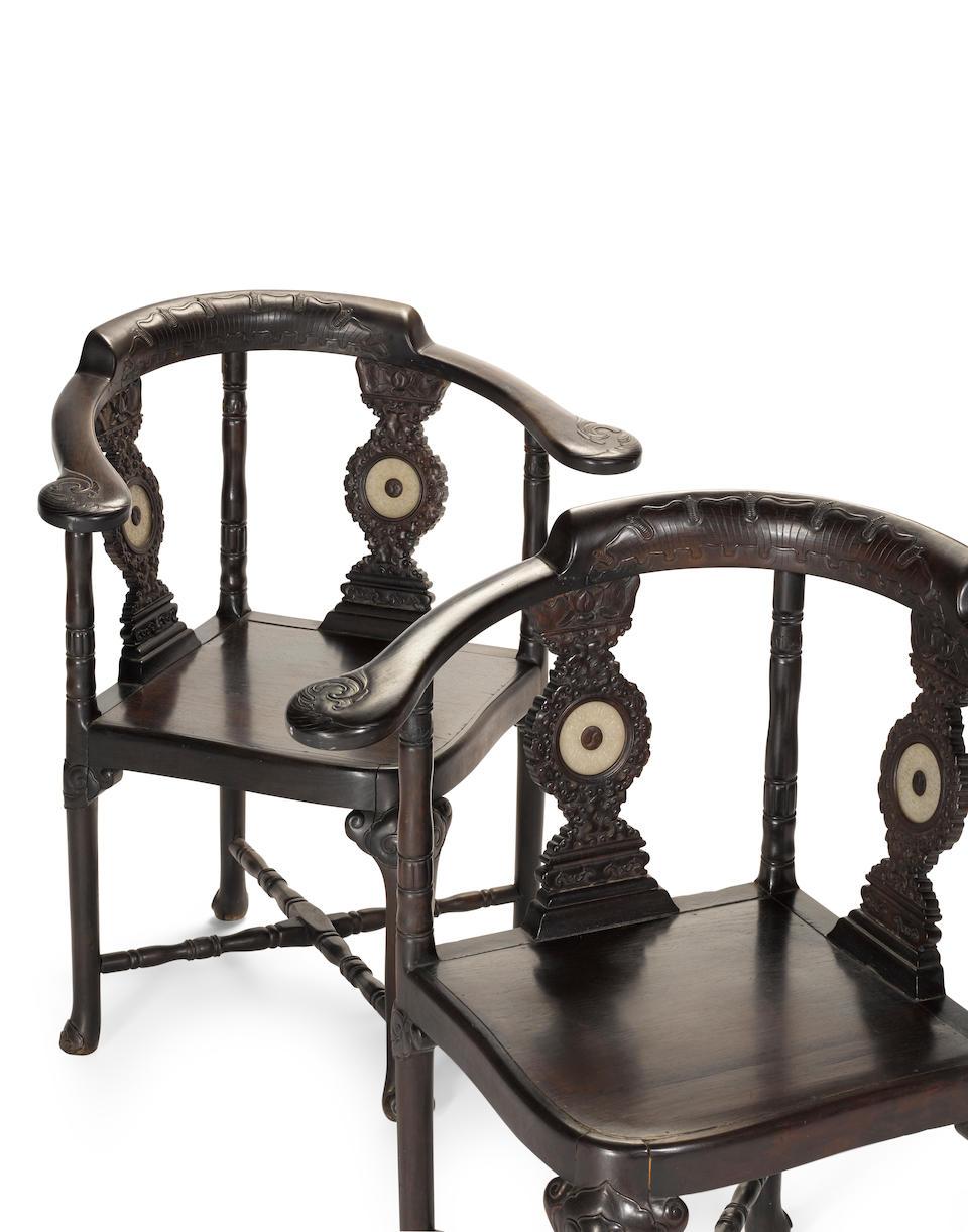 A rare pair of jade-mounted zitan corner chairs 19th Century