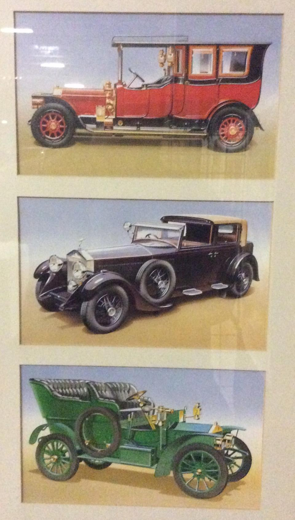2 Nicely Framed Sets of Rolls-Royce and Bentley Limited Edition Postcards