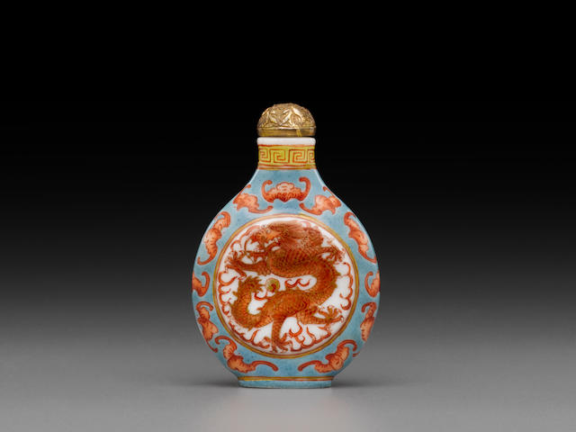 An enameled and gilt decorated porcelain 'dragon' snuff bottle Imperial, Guangxu mark and of the period, 1875-1908