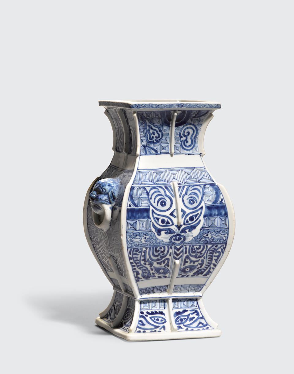 A blue and white archaistic square-sectioned vase 19th century