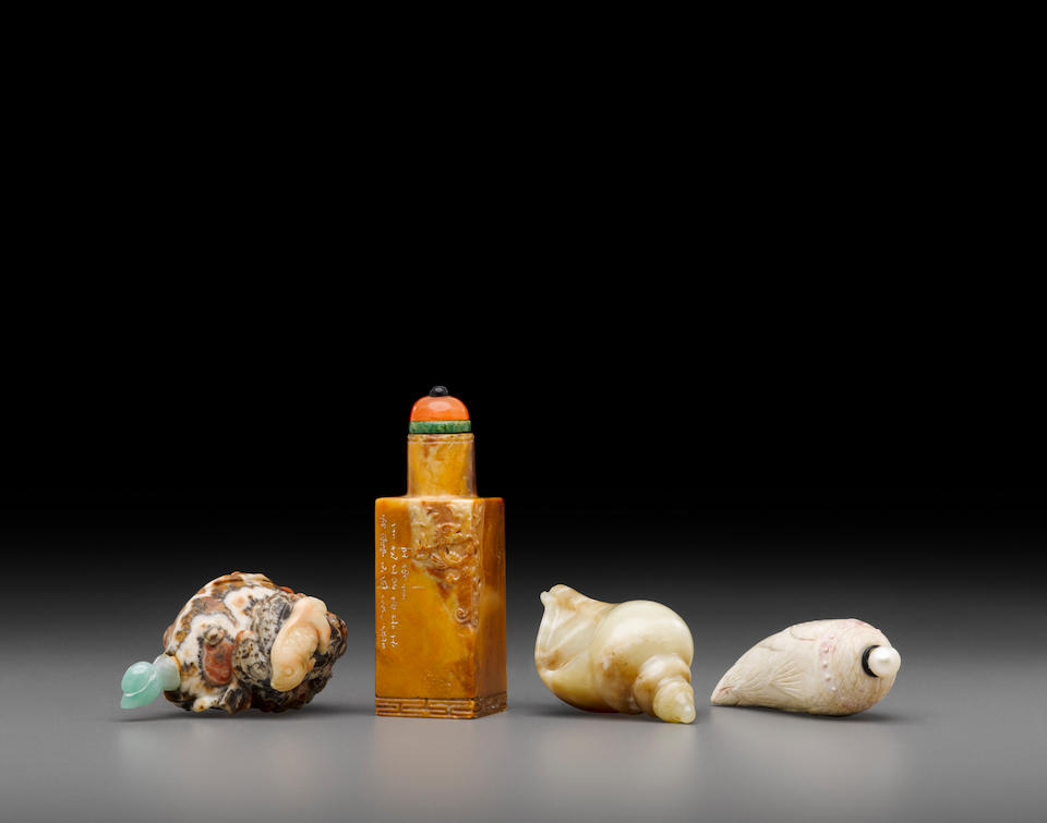 Four carved stone snuff bottles (4)