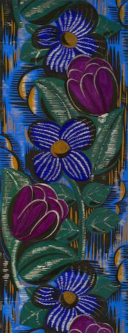 RAOUL DUFY (1877-1953) Etude pour un tissu des ateliers Bianchini-Perier 26 1/6 x 10 1/2 in (66.8 x 26.7 cm)