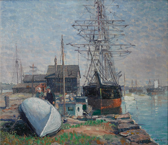Clifford Warren Ashley (1881-1947) Merrill's Wharf, New Bedford, Massachusetts 26 1/4 x 30 1/4in (Painted circa 1918.)