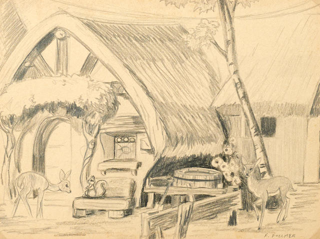 A preliminary drawing from Snow White and the Seven Dwarfs