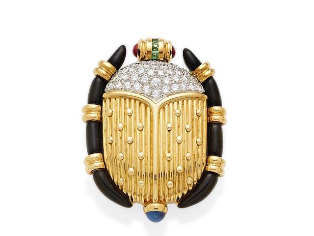 A diamond, enamel, platinum and gem-set 18K gold scarab brooch, Tiffany & Co.,