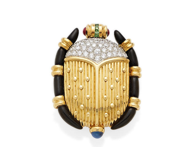 A diamond, enamel, platinum and gem-set 18K gold scarab brooch, Tiffany & Co.,