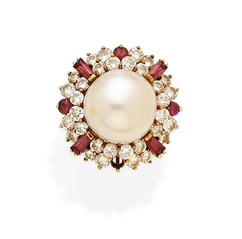 A Cultured Pearl, Diamond, Pink Sapphire and 18k gold ring
