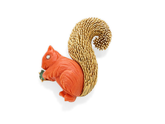 A Coral, Diamond, Emerald and 18K Gold Squirrel Brooch, Van Cleef & Arpels, French
