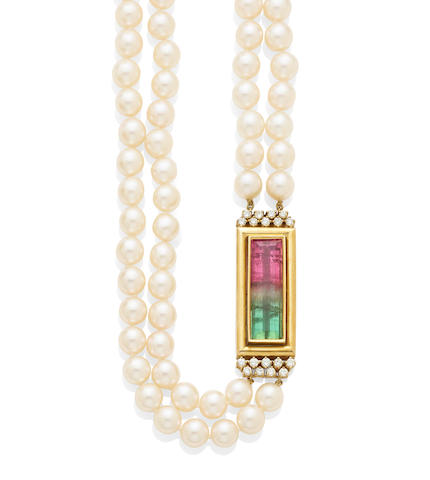 A two strand cultured pearl, watermelon tourmaline, diamond and 18k gold necklace